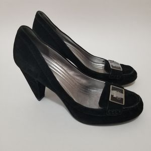 Coach Kandace Loafer Heels Suede Leather Black